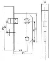 Межкомнатный механизм USK 752W, защелка дверная с фиксатором купить оптом Киев