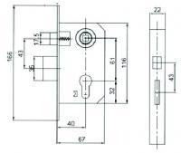 Схема корпус замка для межкомнатной двери USK 9011, замок дверной купить оптом