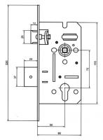 Схема замка для межкомнатной двери USK 50*72 под четверть, замок дверной купить