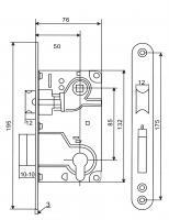 Схема корпус замка для межкомнатной двери USK 85*50, замок дверной купить оптом